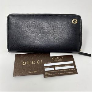 Gucci Black Leather Double G Zip Around Wallet